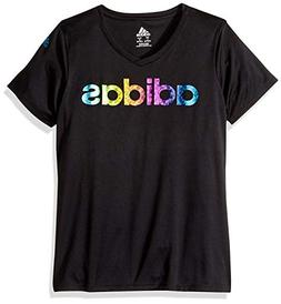 adidas Girls' Big V-Neck Performance T-Shirt, Black, L