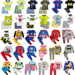 Boys Girls Kids Pajamas T-Shirt Tops Pants Toddler Sleepwear