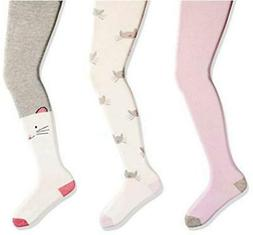Brand - Spotted Zebra Kids' 3-Pack Cotton Tights,, Kitties,
