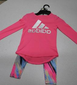 Adidas Bright Pink Youth Small 2 Piece Set