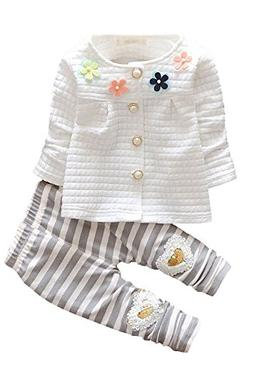 Baby Girls 2pcs Button Down Top Cardigan Strip Legging Pants