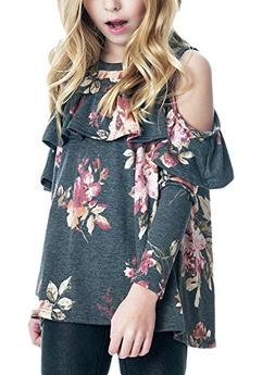 Acelitt Girls Casual Loose Long Sleeve Cold Shoulder Floral