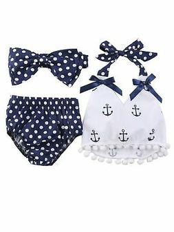 Chi Infant Baby Girl Anchor Top with Polka Dots Bloomers Sun