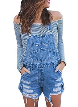 chimikeey Womens Juniors Destroyed Denim Bib Short Overalls
