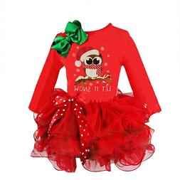 Christmas <font><b>Girls</b></font> Dress with Animals Owl P