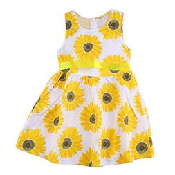 TIFENNY Clearance! Girls Clothes Sleeveless Ruffle Sunflower