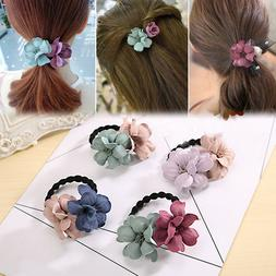 Clothing Flower Hair Rubber Accessories Women Girls Band Ela