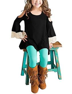 GRAPENT Girls Cold Shoulder Crochet Long Sleeve Casual Loose
