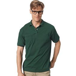 Hanes Cotton-Blend Jersey Men's Polo with Pocket_Deep Forest