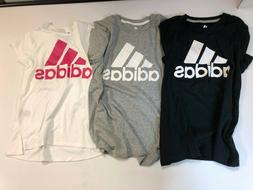 Adidas Crew Neck Logo Short Sleeves Graphic T-Shirt Girls NE