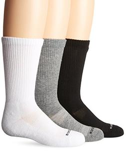 New Balance Kids Unisex 3 Pack Crew Sock, Small, Black/Grey/