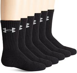 Under Armour Crew Socks , Solid Black, Youth Large