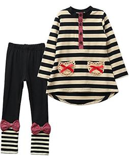 M RACLE Cute Little Girls Long Sleeve Top & Pant Clothes Set