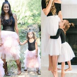 Dress Outfits Top T-shirt Skirt 2pcs Clothes for Family Matc