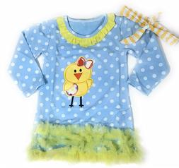 Easter Chick Dress Blue Girls Boutique Outfit Clothing Infan