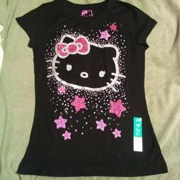 Hello Kitty face Girls Size XL 14-16 short sleeve Black shir
