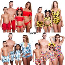 Family Matching Swimwear Men Women Kids Boys Girls Vintga Bi