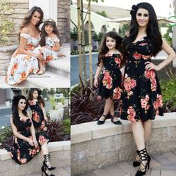 Fashion Women Mother Daughter Matching Dresses Summer Girl D
