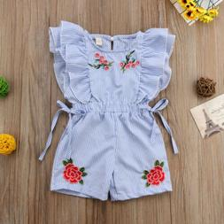 Flower Kid Baby Girls Striped Ruffles Jumpsuit Floral Playsu