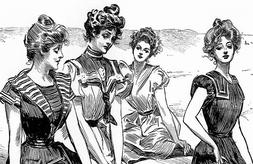 Gibson Girls in Beach Attire Giclee People Reproduction Prin