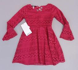 Kensie Girl's Bethel Long Sleeve Lace Skater Dress AB4 Pink