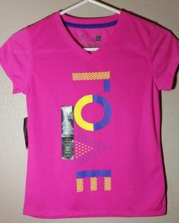 Girl's Xersion Love Pink T-Shirt Top Girls Activewear