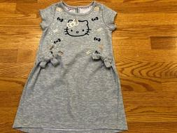 Girl's sz 5-6T XS Hello Kitty Gray Sweater Tunic Short Sleev