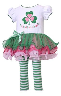 Bonnie Baby Girl St Patricks Day Green Shamrock Tutu Dress L