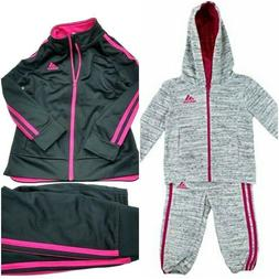 Adidas Girls 2 PC Jacket Pants Athletic Tracksuit Set Pic Co