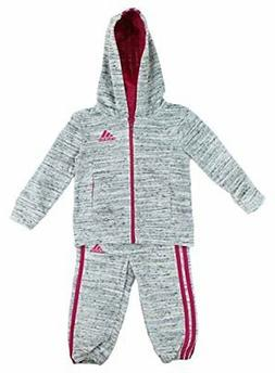 adidas Girls 2 Piece Jacket Pants Velor Tracksuit Set  - NEW