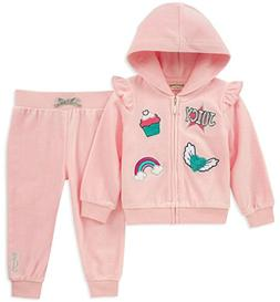 Juicy Couture Girls 2 Pieces Jog Set-Velour, Baby Pink/Silve