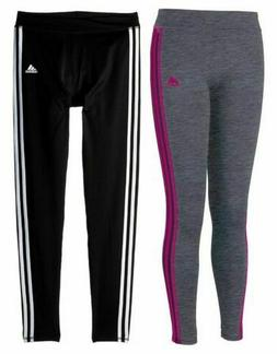 adidas girls 3 Stripe Black Athletic Tights  Variety Colors