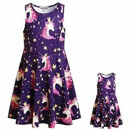 Girls&Doll Matching Dresses Sleeveless Unicorn Clothes 6-7 Y