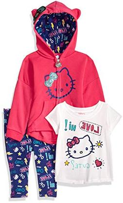 Hello Kitty Girls' Baby 3 Piece Hooded Set with T-Shirt and