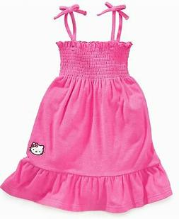 Girls Hello Kitty Beach Terry Cover-up Dress Pink Size 4 onl