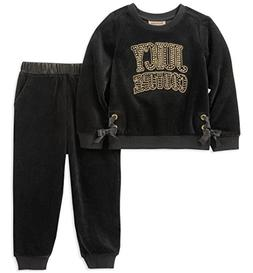 Juicy Couture Girls' Little 2 Pieces Pant Set - Velour, Blac