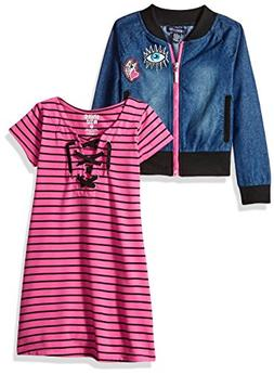 Limited Too Girls' Big Dress with Sweater Jacket , neon hot