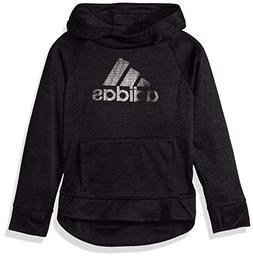 adidas Girls' Big Pullover Sweatshirt, Black Heather, L