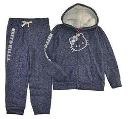 Hello Kitty Girls Blue & Silver 2-Piece Fleece Sweatsuit Siz