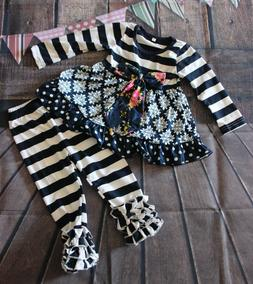Girls Boutique Clothing  ruffle pants+top outfit set Baby To