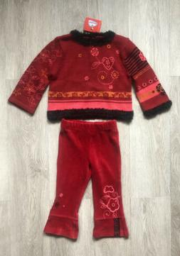 Girls clothing,Catamini pant set, size 2A  sweater/velour pa