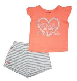 girls coral top 2pc striped short set