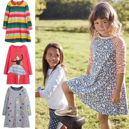 Girls Cotton Dress Long Sleeve Striped Casual Dresses Kids C