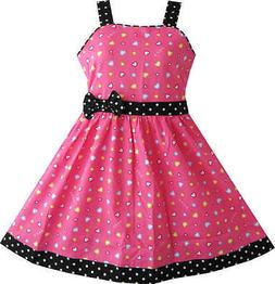 Sunny Fashion Girls Dress Heart Print Pink Children Clothes