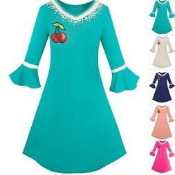Sunny Fashion Girls Dress Lotus Leaf Sleeve Cherry Embroider
