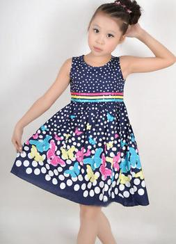 Girls Dress Navy Blue Butterfly Party Princess Child Clothes