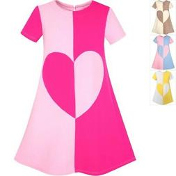 Sunny Fashion Girls Dress Pink Color Contrast Heart A-line S
