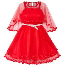 Sunny Fashion Girls Dress Red Cape Pearl Belt Wedding Party