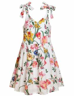 Jxstar Girls Floral Dresses Summer Adjustable Bowknot Halter
