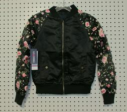 Limited Too Girls' Floral Printed Sleeve Satin Bomber Jacket